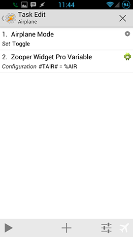 Zooper Airplane Mode Toggle Task