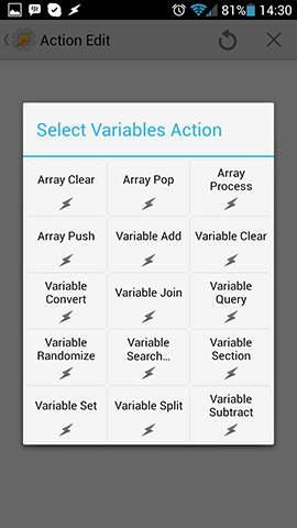 Variables Action