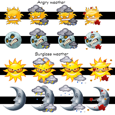 Angry and Sunglass Weather Iconsets