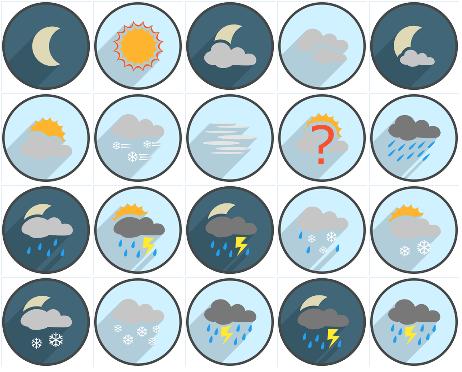 Long Shadow Circle Weather-Iconset