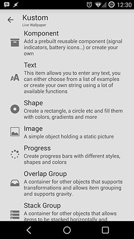 Kustom add items