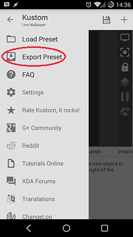 Kustom Export Preset